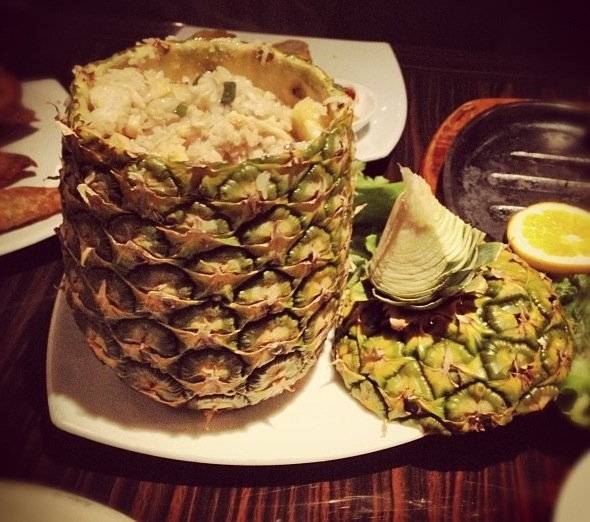Pineapple Fried Rice In A Pineapple