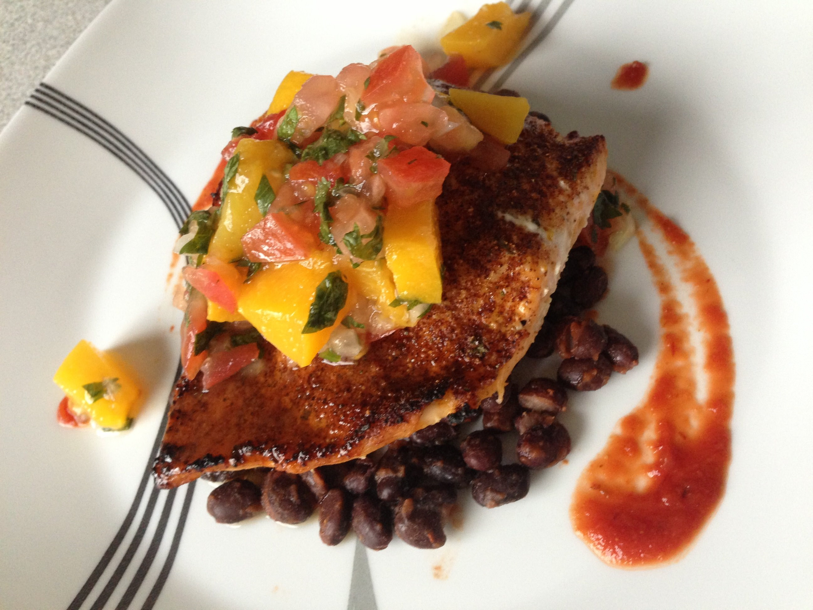 Chipotle Salmon with Peach Pico de Gallo and Roasted Black Beans