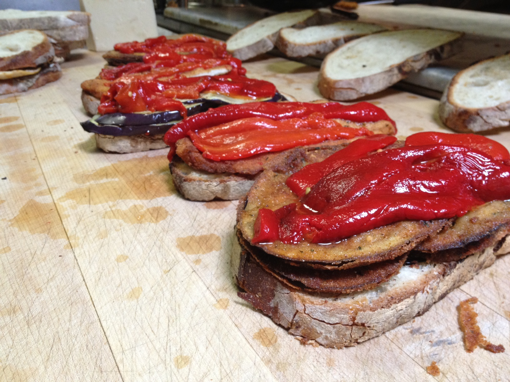 Eggplant Panini's With Roasted Peppers