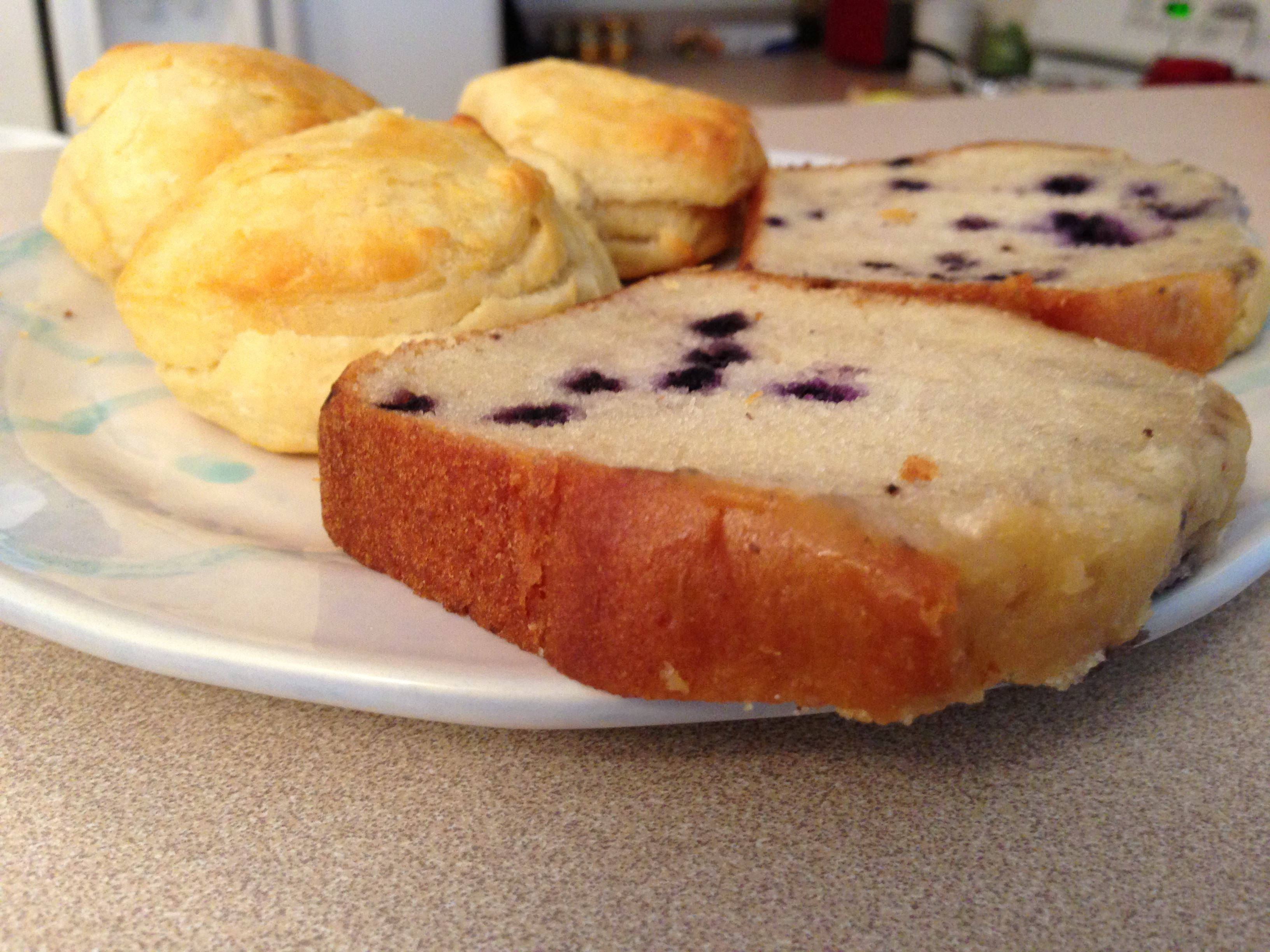 Blueberry Pound Cake And Biscuits!