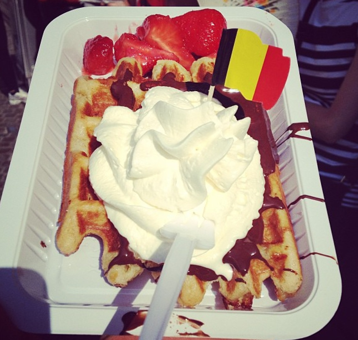 "A  REAL ""Royal Belgium Waffle"" feasted on by @Gr8wallzofCHYNA in Bruges, Belgium"