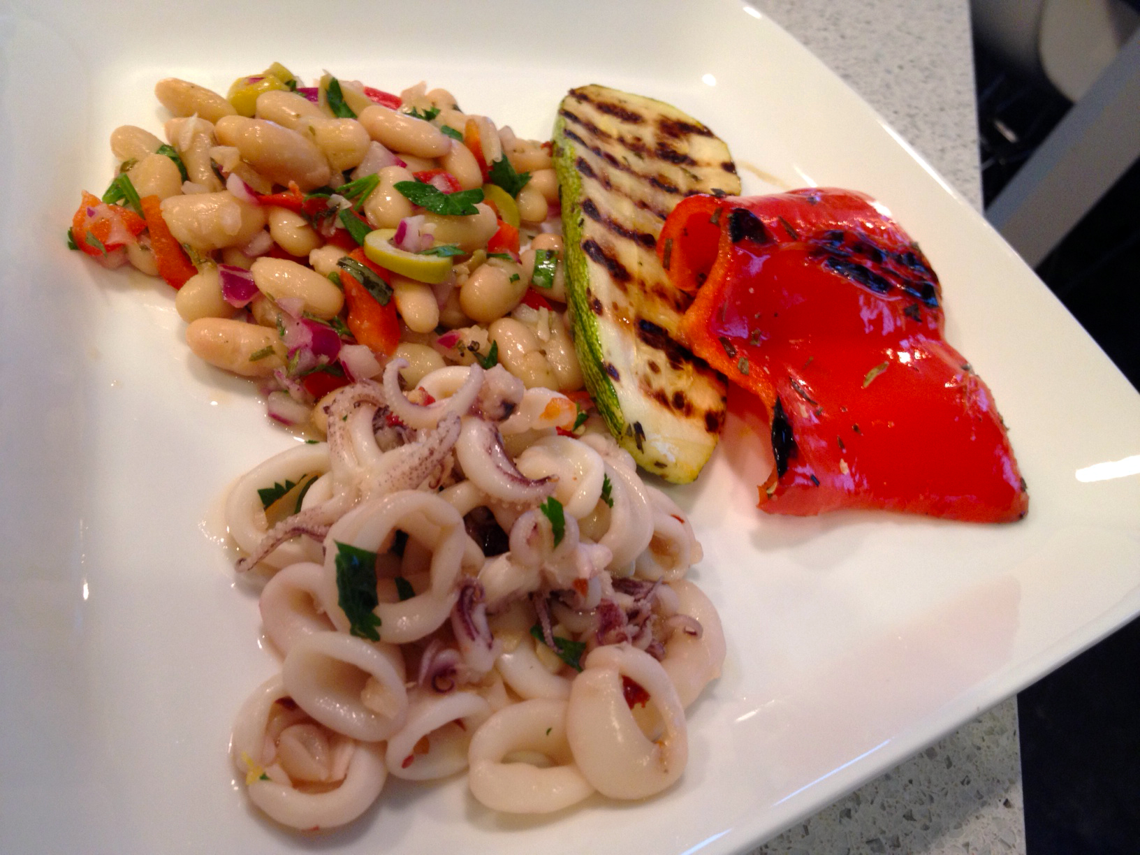]: Sauteed Squid with Chilis and Garlic, White Cannellini Bean Salad ...