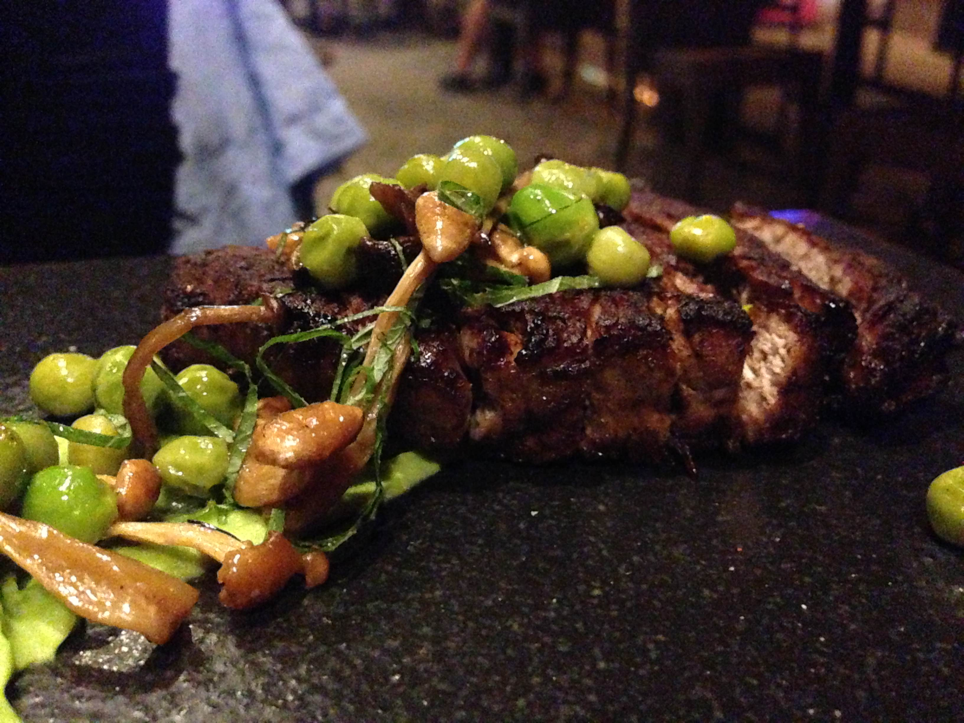 Beef Tenderloin A La Plancha* Roasted Japanese Mushrooms and English Pea Purée from @SushiSamba