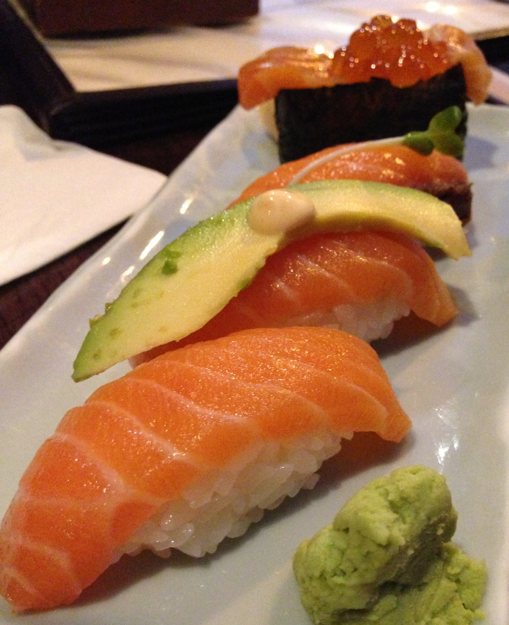 All Salmon Everything: Marinated, Avocado, Spicy Mayo, Roe Boat Wrapped!