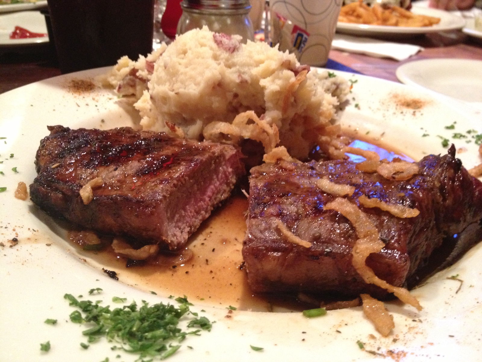 NY Strip Steak, Garlic Mashed Potatoes with Fried Onions from The Cabin in Freehold, NJ