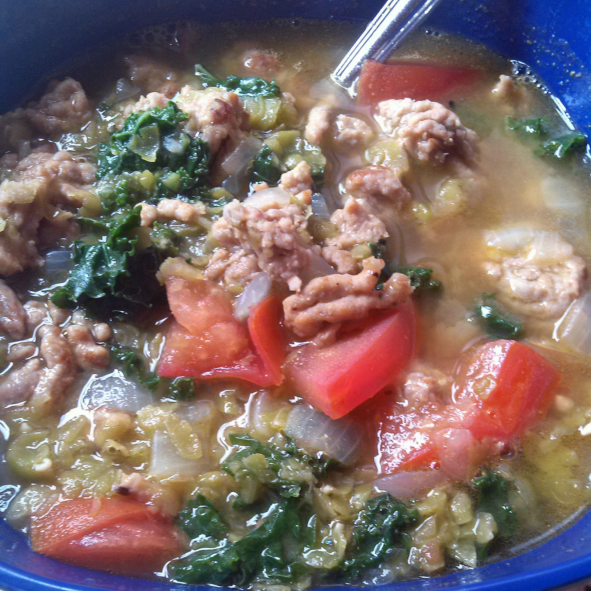 Green Split Pea, Kale, and Italian Sausage Soup