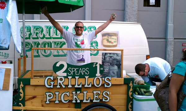 Travis Grillo at the Grillo's Pickle cart