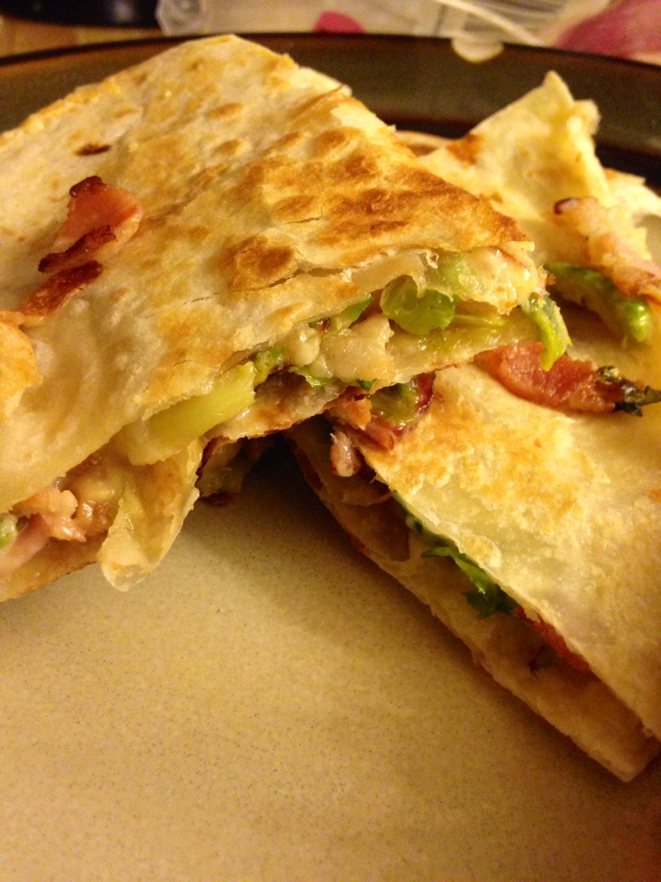 Brussels, Bacon, Bean, and Smoked Gouda Quesadillas