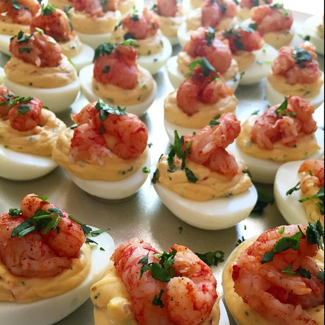 As we KICK off Playoff Weekend in the #NFL having the right #Appetizers is Essential to any #GameDay Bash!! These Thai Deviled Eggs topped with Little Langostino Lobster Tails by @KanyeBreast will make sure you're the real #MVP of the #Playoffs!! || #YouGottaEatThis #YGET #WDYET #MakeAtHome #Lobster || #😳 #😍 #💣 #🔥 #🔑 #🏆 #🐣 #🏈