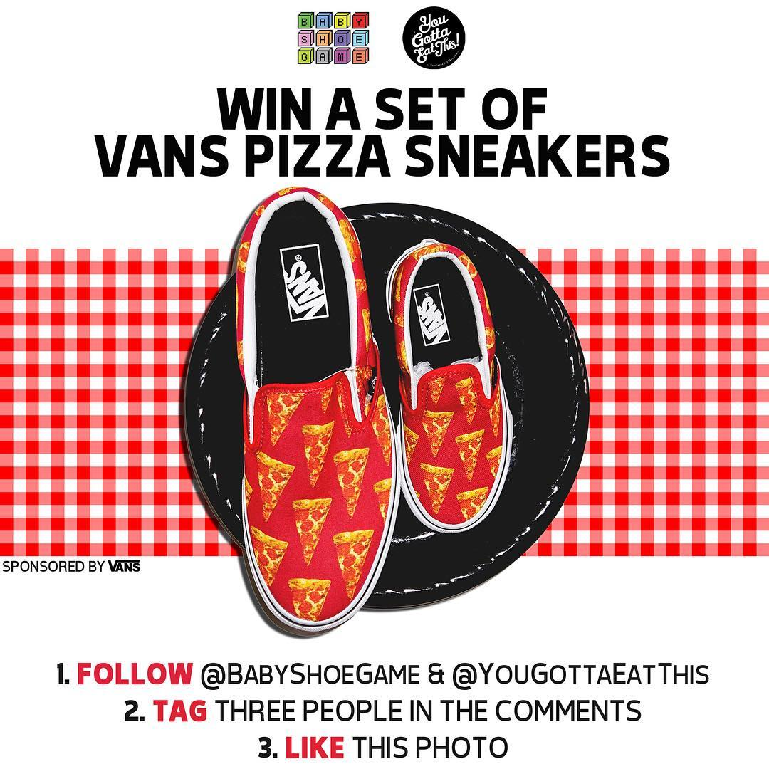 FREE SNEAKER GIVEAWAY! Read & follow rules below to enter: 1. Must follow @babyshoegame & @YouGottaEatThis 2. TAG 3 people in the comments 3. LIKE this photo!  Winner will be selected at random on Thursday at 8pm EST and receive adult size + kids size Vans Pizza Slip-On sneakers. Thanks to @Vans for sponsoring this giveaway