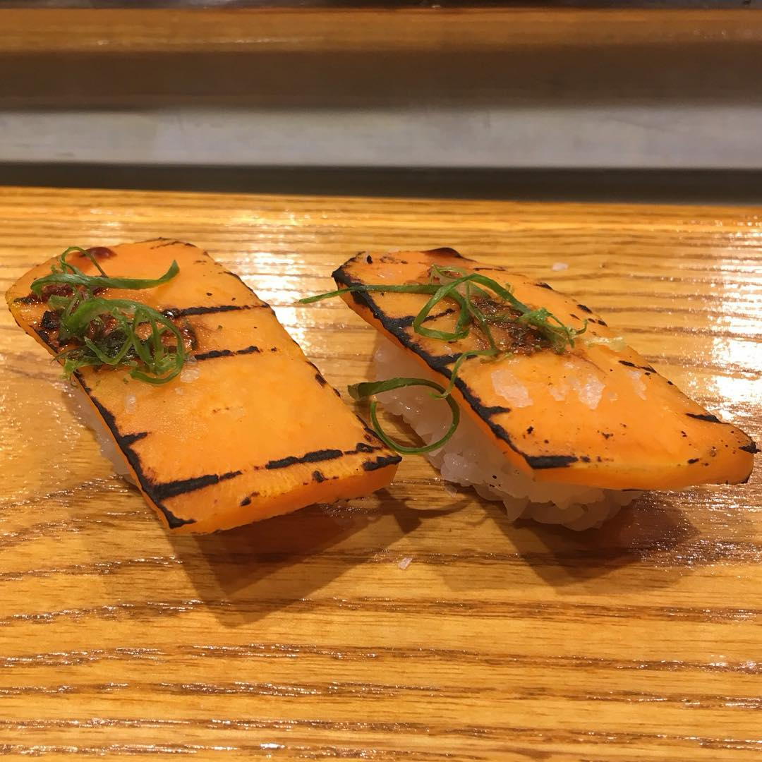 @TrillOG is LIVE at @UchiHouston for Night!! On Deck is this Sweet Potato Nigiri with Noble Tonic, Kosher Salt and Lime Zest. The results are in from @UgkWifey1 it's Approved!! 💣🔑😍