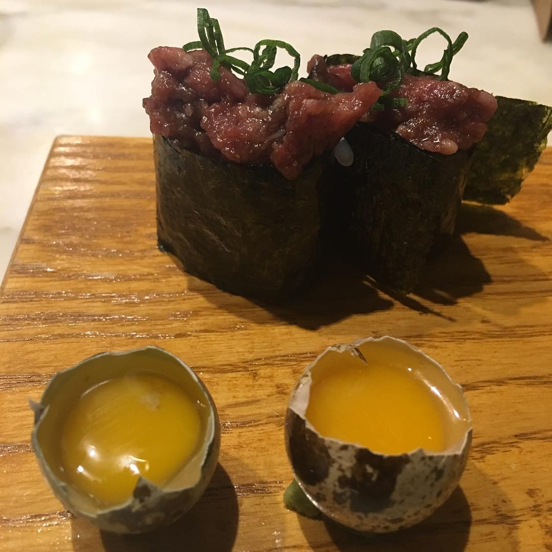 Steak and Eggs!! Minced raw Kobe beef with Quail Egg shooters Approved by our very own @TrillOG!! Perfected at @UchiHouston!! 😳