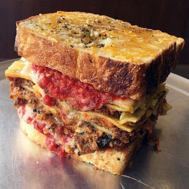 Lasagna Grilled Cheese Sandwich!! 😍😳 I mean what better way to kick off the weekend!!