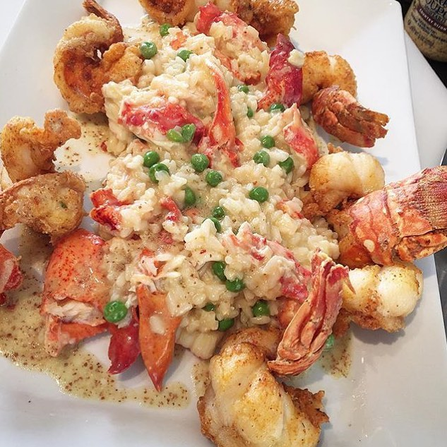 Fried Lobster with Crab and Lobster Risotto with Lemon Dijon Vin!! @ChefRli Back at it AGAIN!! 😍😳💣🔑🔥