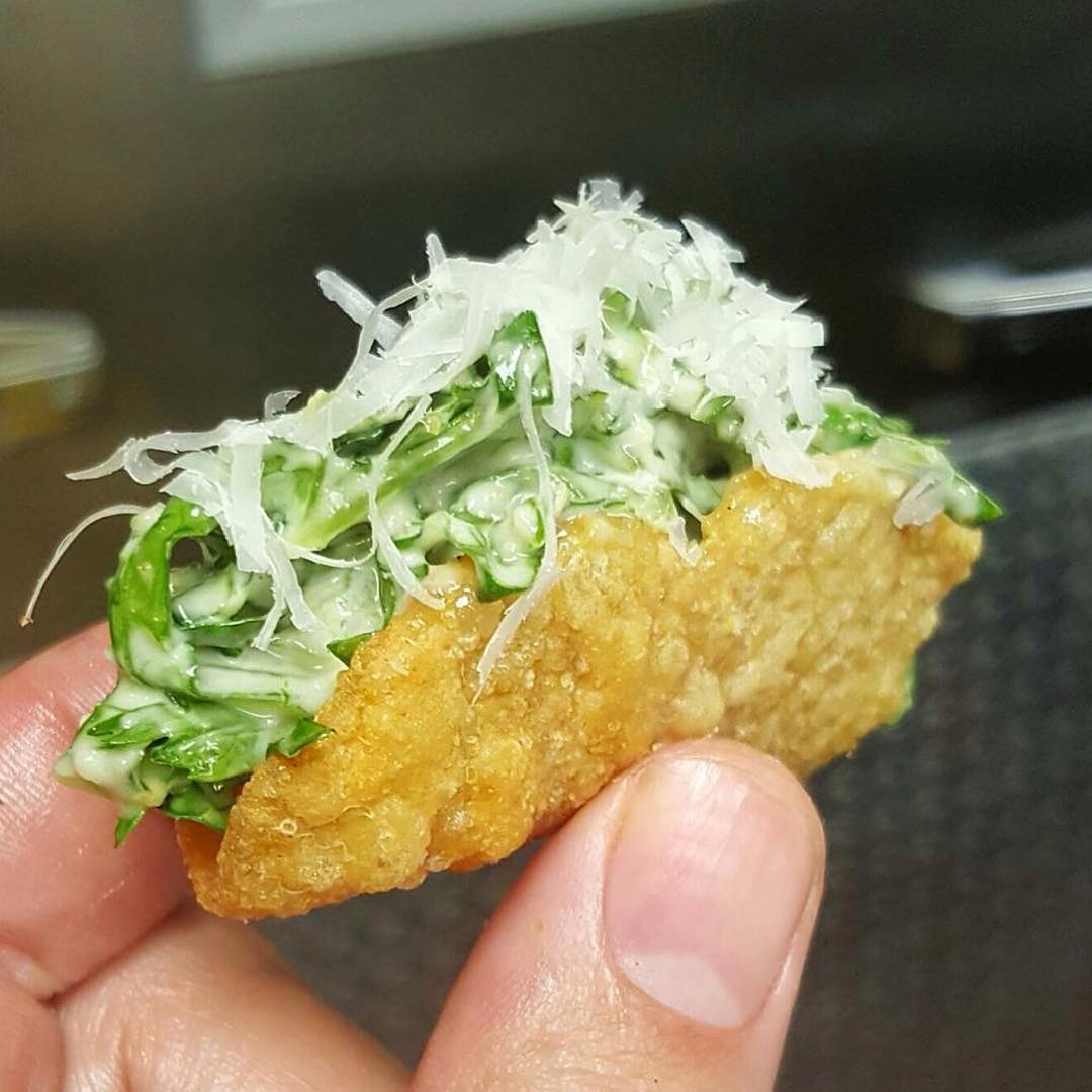 Ceasar Salad in a Chicken Skin Taco 😍😳😍 We told you before and will tell you again @ChefMarcMarrone ain't nothing to FUX with!!