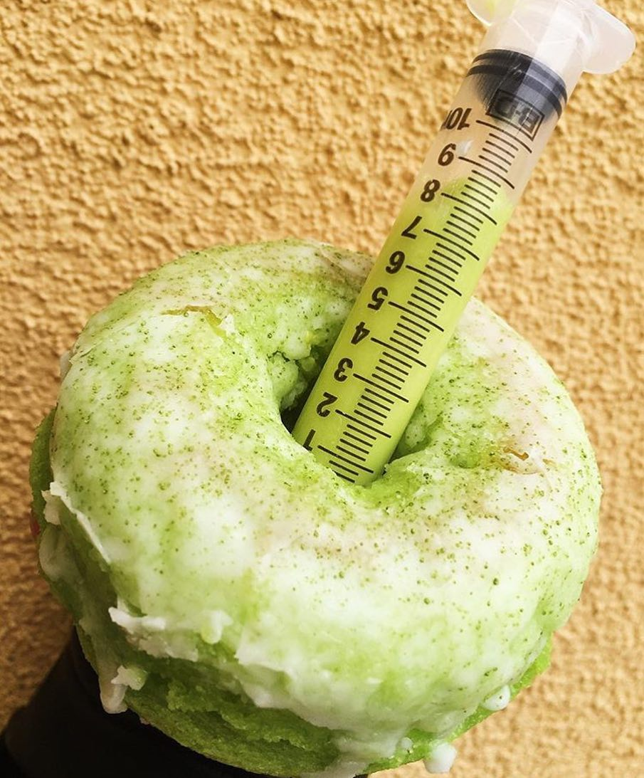Had your morning donut yet??? Baked Pandan Donut with Cream Pandan Syringe. 📸 @andythenguyen @ujellyujelly