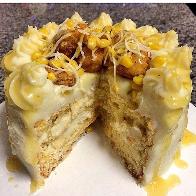 Cheddar Bay Biscuit Cake w/ Mashed Potato Frosting and topped w/ Popcorn Chicken, Corn, Cheese and Chicken Gravy 😳🙀😳Perfected by @ChefBoyAli305 😍🍗🎂 We're speechless, You about this LIFE??
