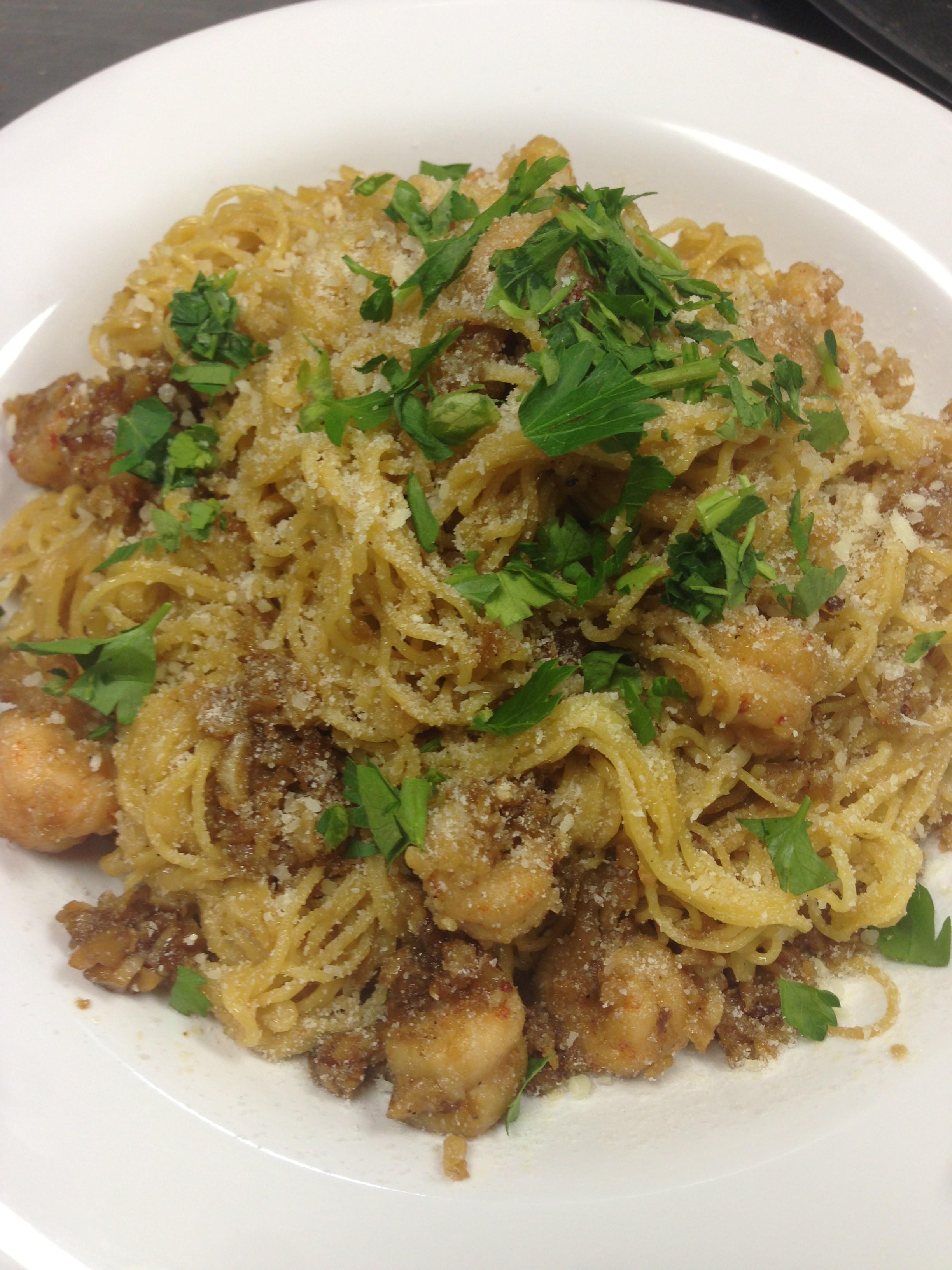 Crawfish Garlic Noodles at Crawfish Cafe