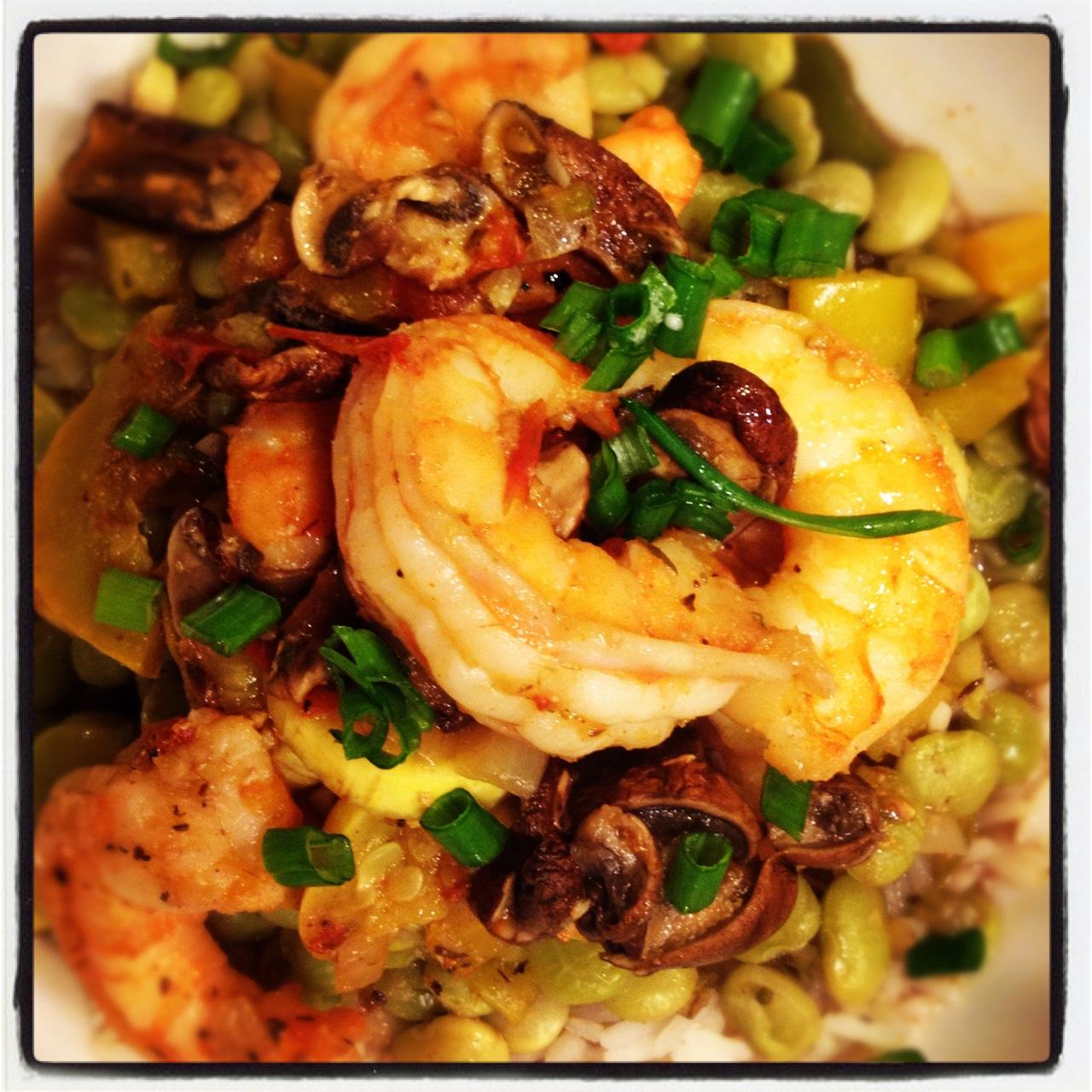 [Recipe] Shrimp Tchoupitoulas atop Lima Beans