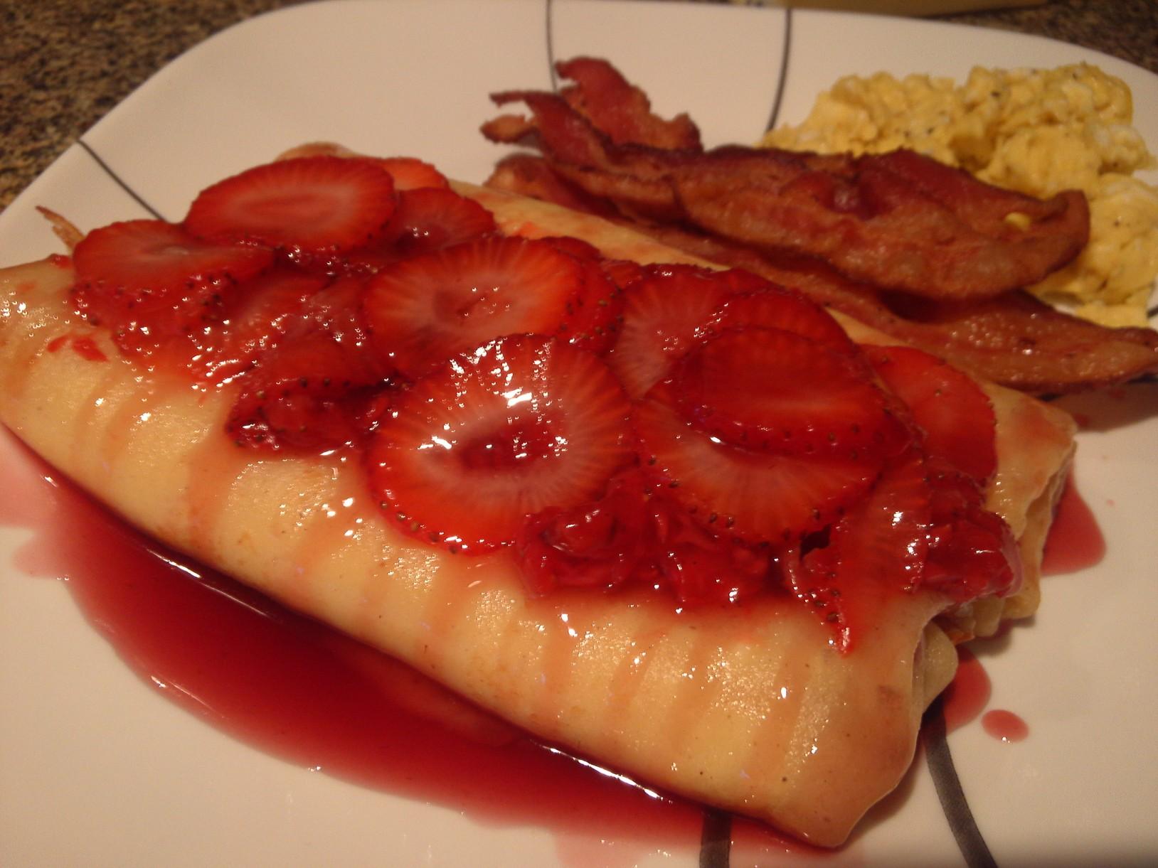 Strawberry Cheese Blintzes