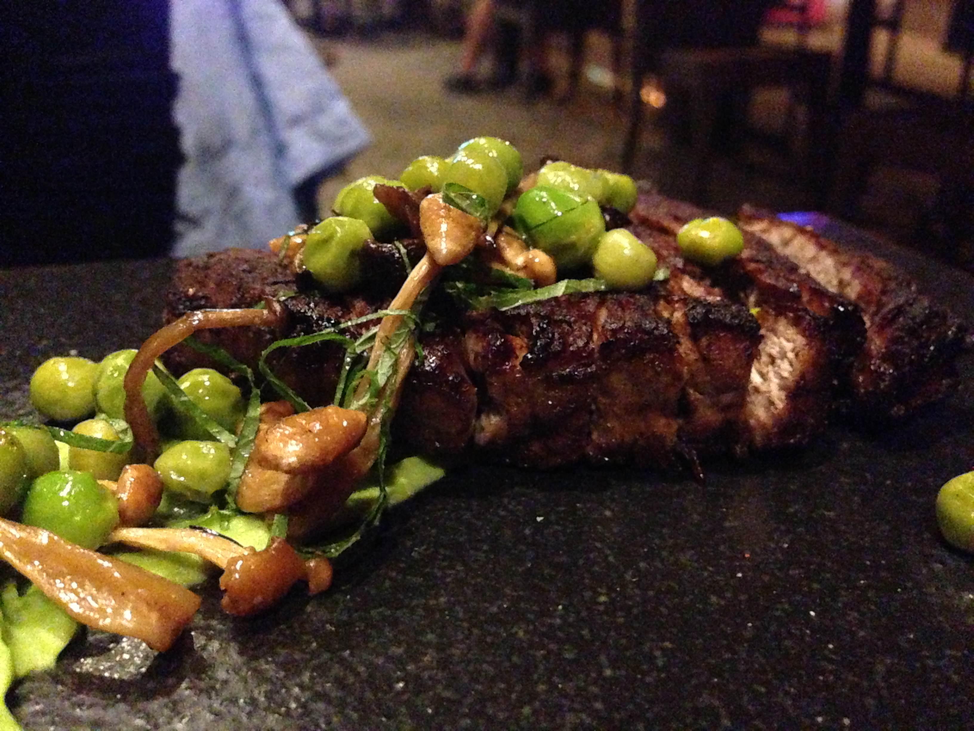 Beef Tenderloin A La Plancha* Roasted Japanese Mushrooms and English Pea Purée from @SushiSamba