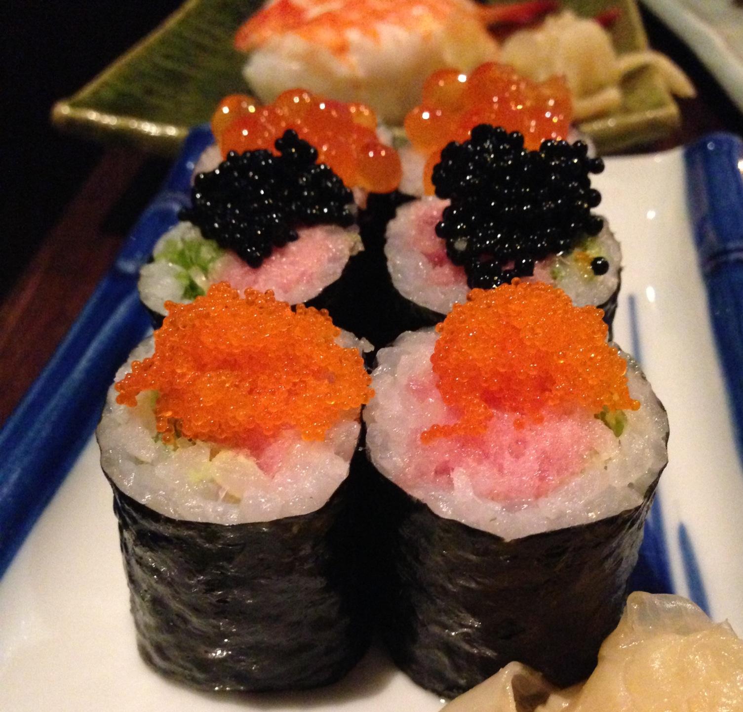 Fatty tuna, scallions, caviar. salmon and masago to TOP it off!