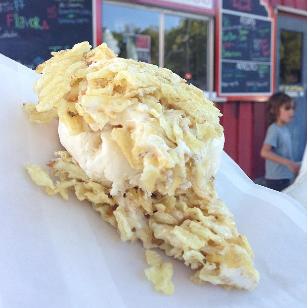 Potato chip rice-crispy treat ice cream sandwich with made-onspot vanilla ice cream from Carnival Barker's!