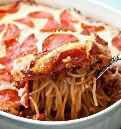 Pepperoni Pizza Spaghetti Casserole