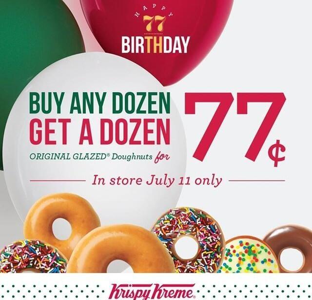 July 11th Buy any dozen Krispy Kreme doughnuts get a dozen for 77 cents!